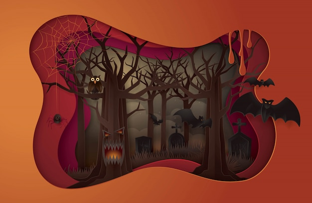 Happy halloween party, abstract halloween spooky tree with graveyard Premium Vector