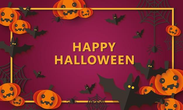 Счастливый хэллоуин вечеринка фон с украшением из пауков и летучих мышей Premium векторы