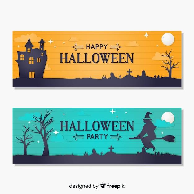 Happy halloween party banner set in flat design Free Vector