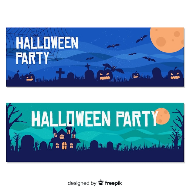 Happy halloween party banner set in flat design Free Vector