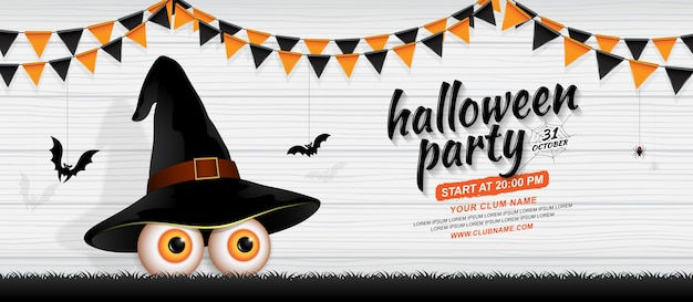 Happy halloween party banner template eyes with witch hat Premium Vector