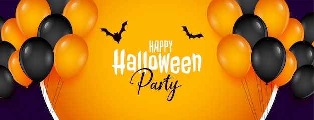 Happy halloween party banner with balloons decoration Free Vector