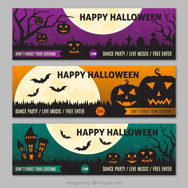 happy halloween party banners free vector