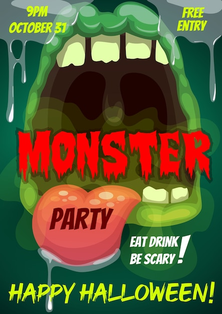 Happy halloween party flyer with monster mouth Premium Vector