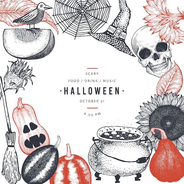 Happy halloween party invitation card template with sketch scary elements Premium Vector
