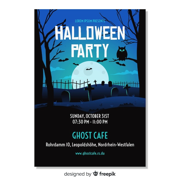 Happy halloween party poster template Free Vector