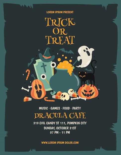 Happy halloween party poster template Premium Vector