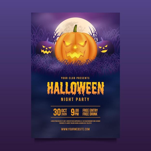 Счастливый хэллоуин плакат тема Бесплатные векторы