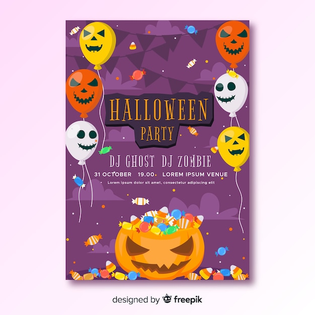 Happy halloween party poster with balloons Free Vector