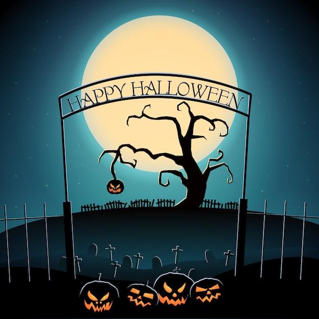 Modello di festa di halloween felice con albero spaventoso e zucche malvagie sul cimitero in stile cartone animato Vettore gratuito