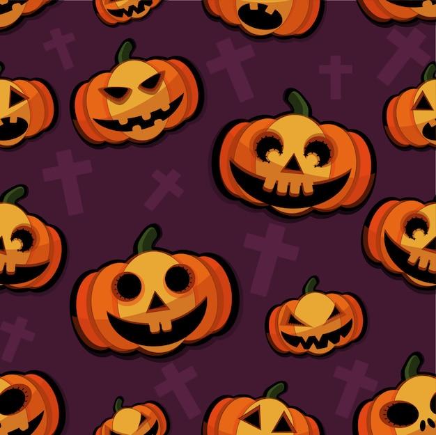 Happy halloween pattern background Premium Vector
