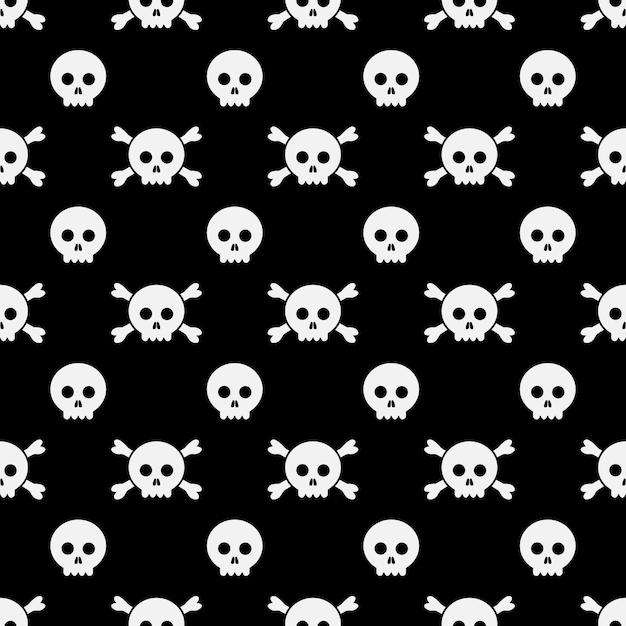 해피 할로윈 패턴 두개골과 뼈입니다. 인사말 카드, 광고, 홍보, 포스터, 전단지, 블로그, 기사, 소셜 미디어, 마케팅을위한 할로윈 디자인 템플릿입니다. 프리미엄 벡터