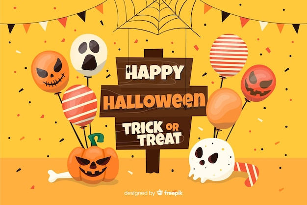 Happy halloween placard with balloons background Free Vector