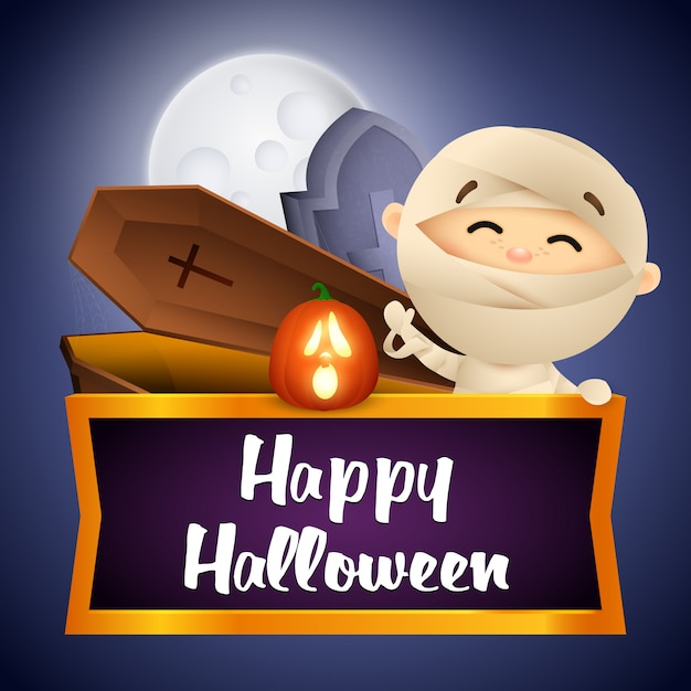 Happy halloween postcard design with mummy, coffin and grave Free Vector