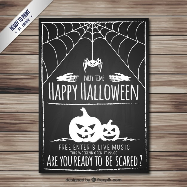 Happy halloween poster in blackboard style Free Vector