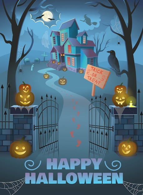 Happy halloween poster. haunted house with gate, pumpkins, Premium Vector