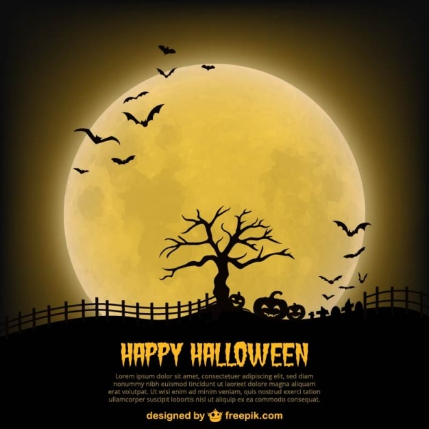 happy halloween poster template with moon free vector - Free Halloween Templates