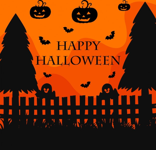 happy halloween poster with silhouette background of graveyard