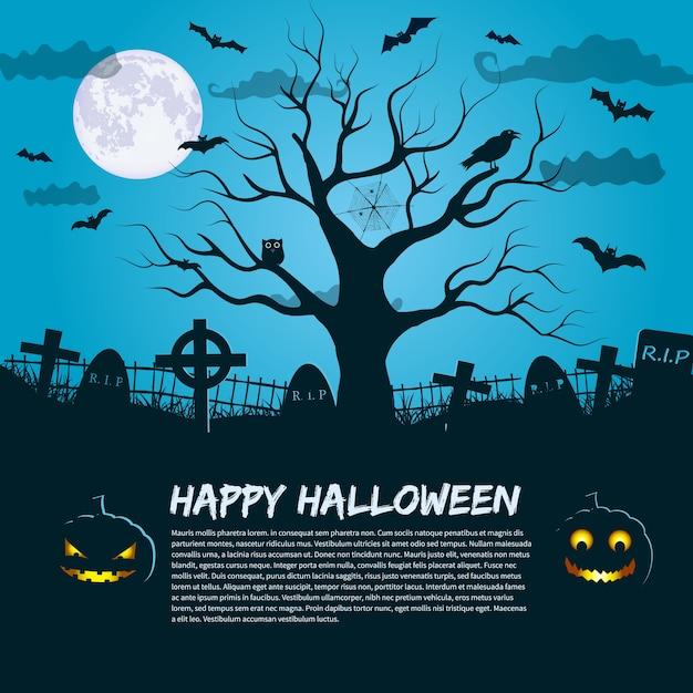 Счастливый хэллоуин плакат с силуэтом мертвого дерева в лунном ночном небе и место для текста приглашения квартиры Бесплатные векторы