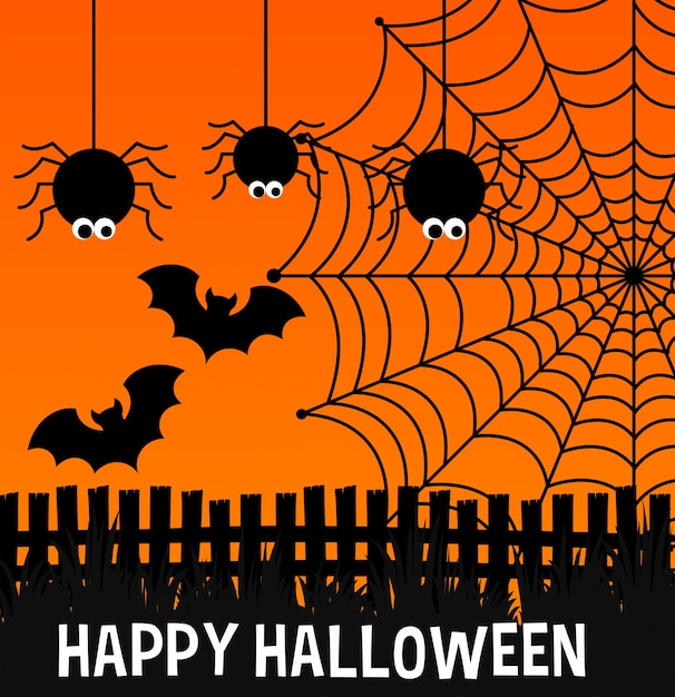 Happy halloween poster with spiders and web Free Vector