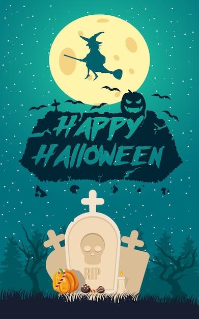 Felice poster di halloween Vettore gratuito