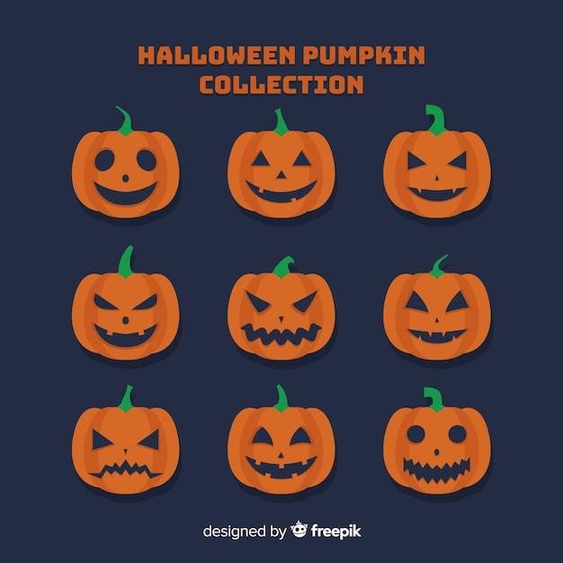 Free Vector Happy Halloween Pumpkin Faces Collection