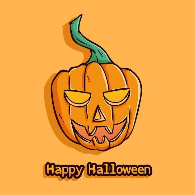 Happy halloween pumpkin with smile face on orange Premium Vector