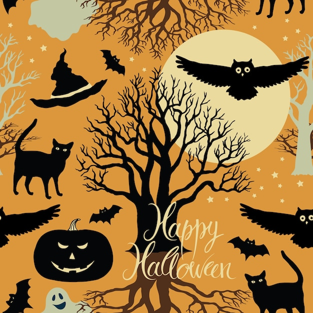 Happy Halloween, pumpkins, bats and cats. Black trees and a bright moon on a yellow background