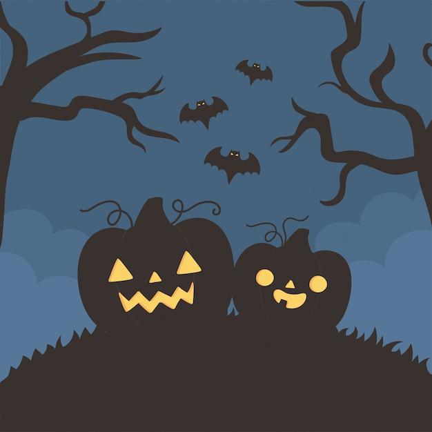 해피 할로윈, 호박 비행 박쥐 나무 밤 트릭 또는 치료 파티 축하 벡터 일러스트 레이션 프리미엄 벡터
