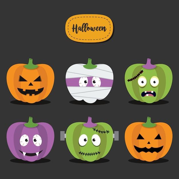 Happy halloween pumpkins set. pumpkins monster face character Premium Vector