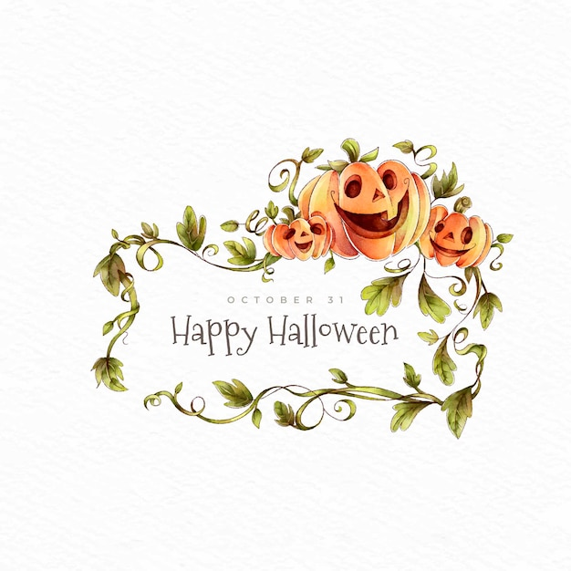 Happy halloween pumpkins and wreath of leaves Free Vector