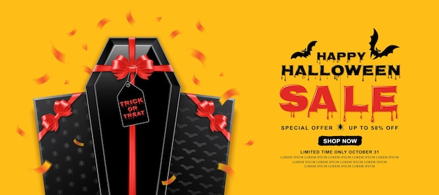 happy halloween sale banner template coffin with red bow premium vector