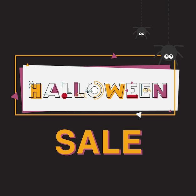 Happy halloween sale banner with lettering. Premium Vector