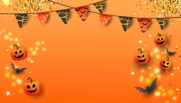 Happy halloween sale banner with pumpkin, bats and candy on orange background. Premium Vector