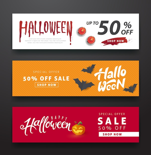 Happy halloween sale banners or party invitation background.vector illustration Premium Vector
