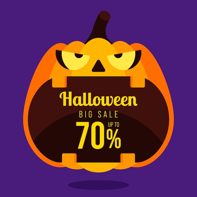 Happy halloween sale promotion banner and special discount template design decorative with pumpkin isolated on purple background, Premium Vector