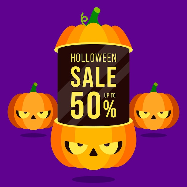 Happy halloween sale promotion banner and special discount template design decorative with pumpkins isolated on purple background Premium Vector