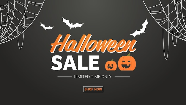 Happy halloween sale promotion template holiday celebration concept seasonal discount greeting card of flyer horizontal vector illustration Premium Vector