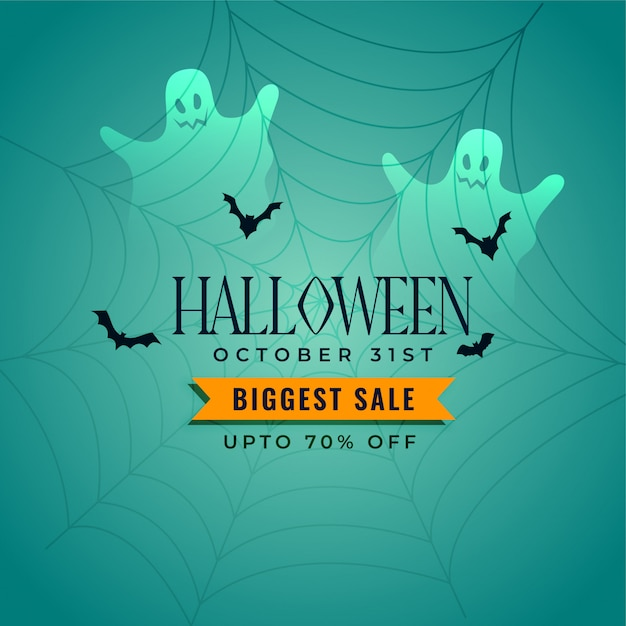 Happy halloween sales with ghosts and bats Free Vector