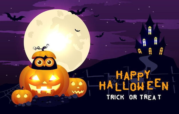 Happy halloween scary background. halloween party or banner invitation with scared house and pumpkins. horror illustration. Premium Vector