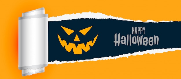 Happy halloween scary background with torn paper effect Free Vector