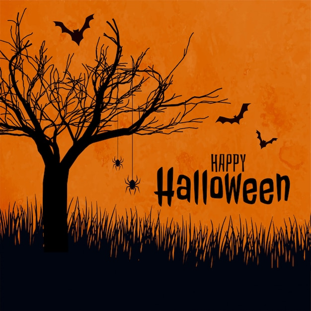Happy halloween scary background Free Vector