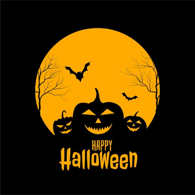 Free Vector Happy Halloween Scary Black And Yellow Card Design