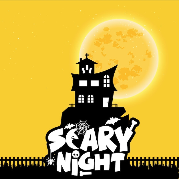 Happy halloween scary night background Free Vector