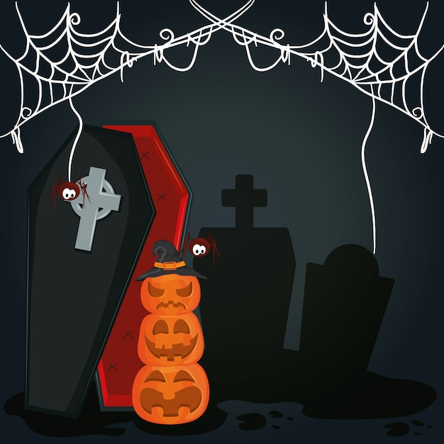 Happy halloween scary night cartoon Premium Vector