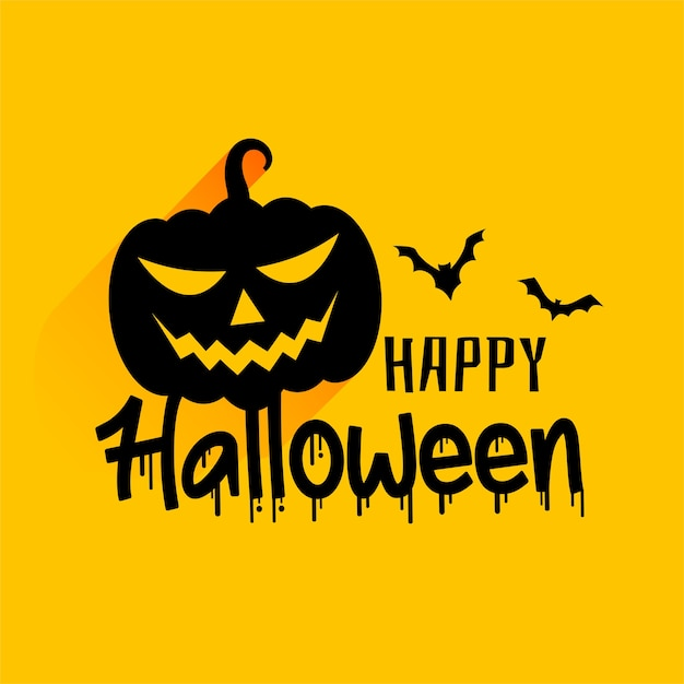 Happy halloween scary spooky card with bats and pumpkins Free Vector