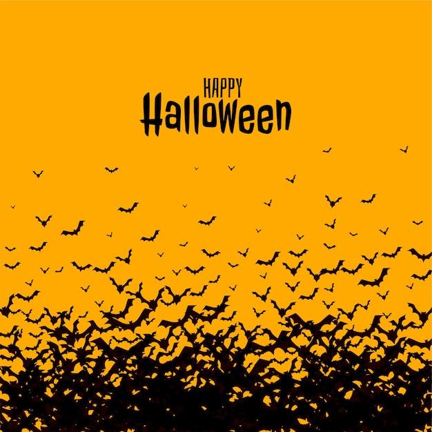 Счастливая страшная жуткая открытка на хэллоуин с летучими мышами Бесплатные векторы