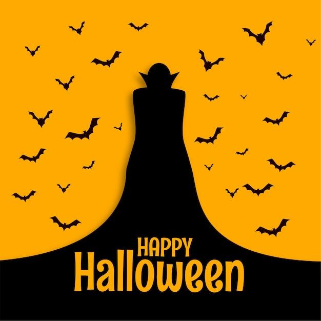 Счастливый хэллоуин страшная жуткая открытка с волшебником и летучими мышами Бесплатные векторы