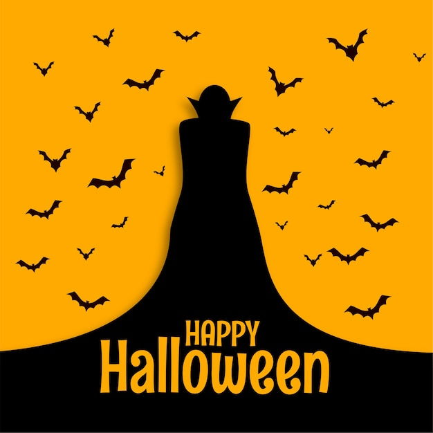 Happy halloween scary spooky card with wizard and bats Free Vector