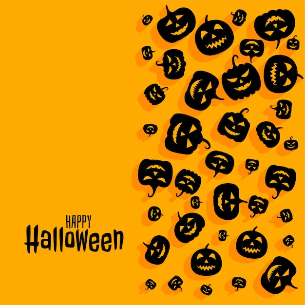 Happy halloween scary spooky pumpkin card  background Free Vector